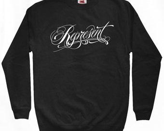 Represent Sweatshirt - Men S M L XL 2x 3x - Crewneck, Hometown Pride, Script, Tattoo - 3 Colors