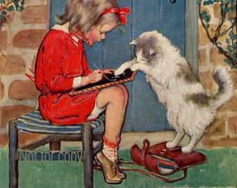 Jessie Wilcox Smith Kitties Lesson print Good Housekeeping print