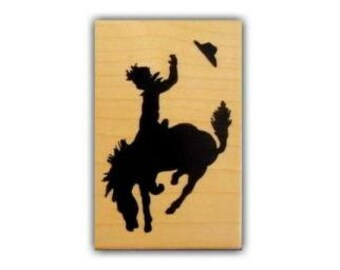 BUCKING BRONCO small, mounted rubber stamp, rodeo, cowboy, western, horse, silhouette, Sweet Grass Stamps No.1
