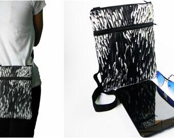 large black white dash shoulder crossbody messenger satchel ipad mini tablet bag men women sling handbag gift for her him outdoor purse