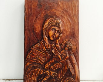 Vintage Hand Carved Religious Plaque