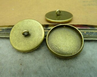 40 round bezel setting cabochon mounting button, antique bronze , 16mm- WC3317