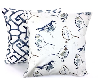 Pillow Covers Blue Gray Decorative Throw Pillows Cushion Covers Birds Geometric Grey White Slub Canvas Couch Bed Set of Two Various Sizes