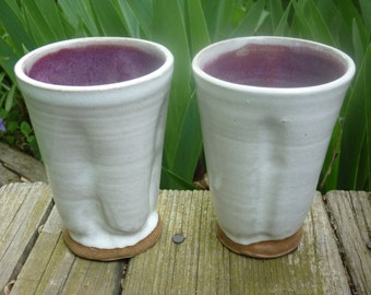 Pottery Tumbler, Party Tumblers, Organic Pottery Cup, Handless Pottery Mug, White, Purple 2@F 3@H