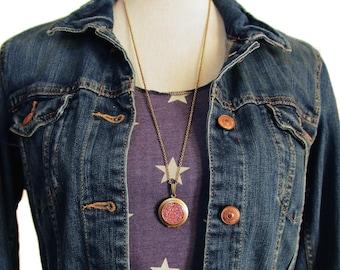 Glitter Locket- Light Pink Bling Glitter Locket Necklace