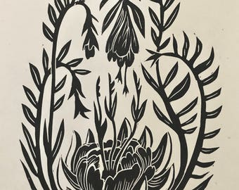 "Original Linocut Block Print, ""Creeping Buds,"" Wall Art Print, Handmade"