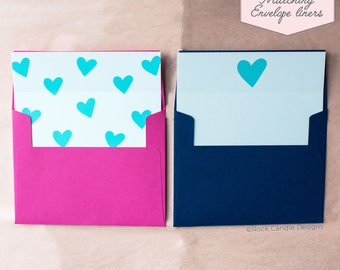 Printed Matching Envelope Liner   A2 Sized Liner   Wedding Liner   Prettiest Card   Unique Way To Ask Your Best Friend   Blue Heart Liner