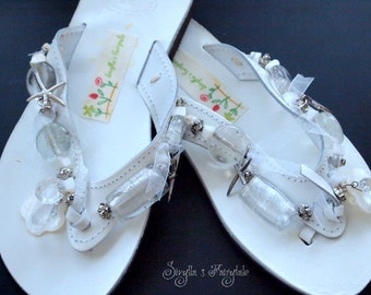 """White Leather sandals with glass beads -Flip Flops - """"SnowWhite"""""""