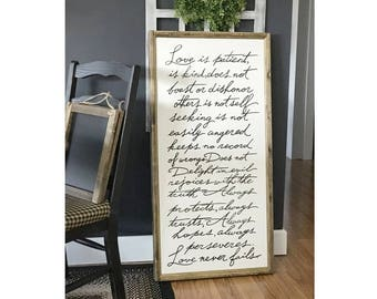 """Love Is Patient, Love Never Fails, 24 """" x 48""""  Wood Framed Sign Canvas, Bedroom Wall Decor, Living Room Wall Decor, Wall Hangings"""