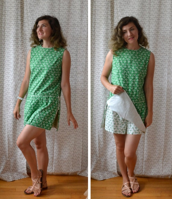Grass Is Greener Romper | vintage 60's kelly green playsuit | small
