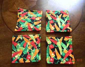 Fabric Coasters - chili peppers on black background