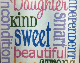 """CUSTOM DAUGHTER 16""""x12"""" embroidered, personalized quilted pillow COVER; daughter gift, 16""""x12"""" quilted pillow sham, custom embroidered gift"""