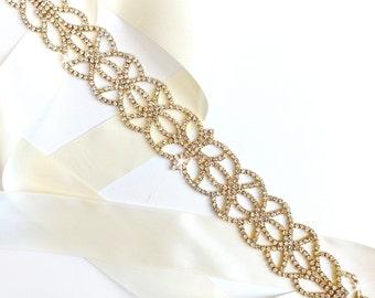 Sash - Art Nouveau Rhinestone Wedding Dress Sash in Gold - Rhinestone Encrusted Bridal Belt Sash - Crystal Extra Wide Wedding Belt