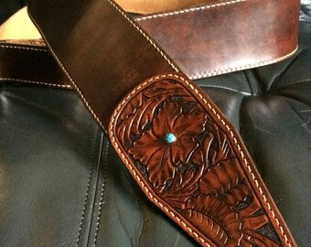 LEATHER STRAP for guitar / bass (curving)