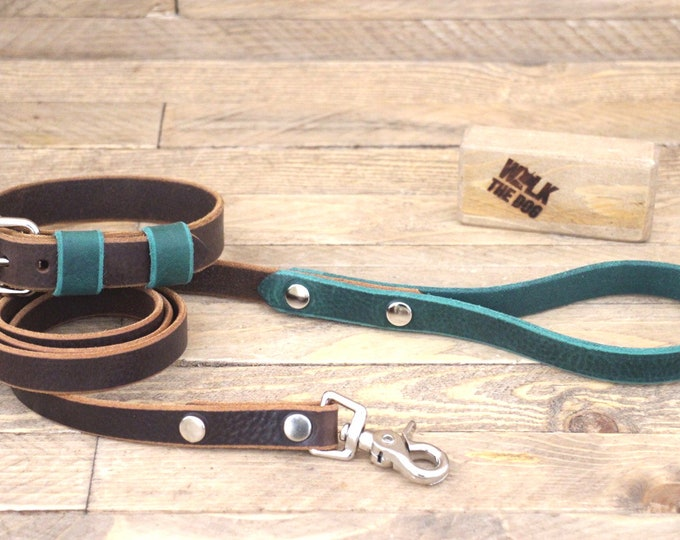 Lead, Leather collar, Dog set, Silver hardware, FREE ID TAG, Handmade collar and leash, Forest, Cocoa collar, Unique collar, Leather leash.