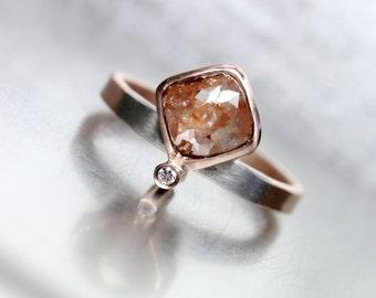 Rose Cut Diamond Engagement Ring 14K Rose Gold Palladium Gray Modern Rust Mixed Metals Bi Color Geometric Minimalism Bridal - Rose Cushion