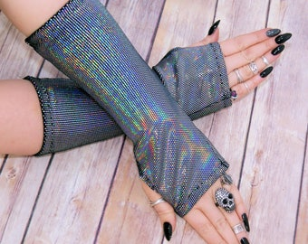 Gothic holographic holo stretch  Velvet arm warmers fingerless gloves with thumb holes MTcoffinz  MTC