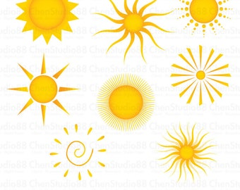 Summer sun vector - Digital Clipart - Instant Download - EPS, Pdf and PNG files included