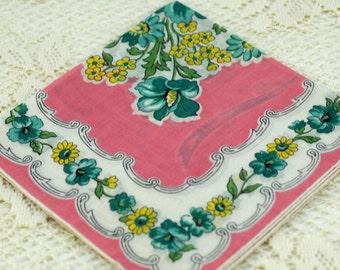 Vintage Hankie Pink Turquoise Stunning E25