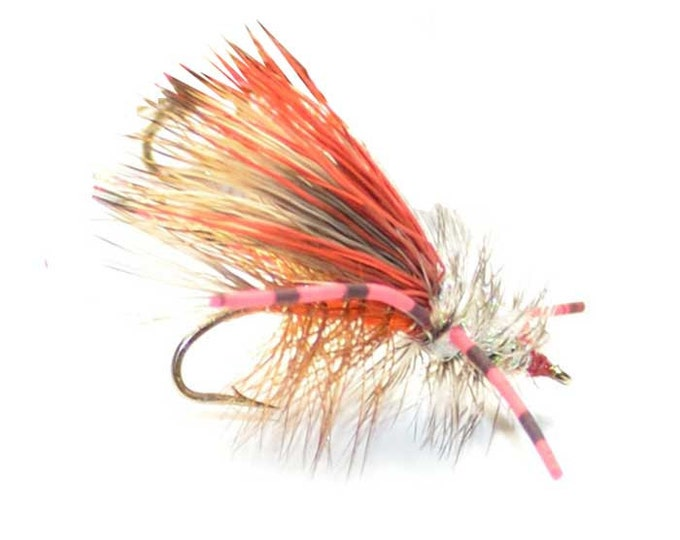 Hand-Tied Fly Fishing Trout Flies: Orange Crystal Stimulator Dry Fly - Hook Size 10