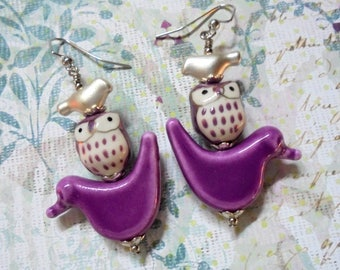 Purple and Silver Bird and Owl Earrings (3867)