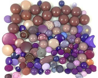 100 Purple, Lavender, Mauve Colored Buttons for Sewing or Crafting, Item 525