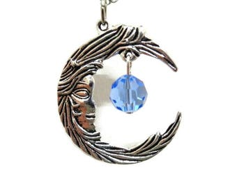 SALE! Silver Crescent Moon and Blue Crystal Necklace, Crescent Moon Necklace, Celestial Necklace, Boho Necklace, Gift For Her, Moon Necklace