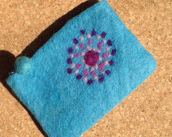 Needle Felted Turquoise Clutch Coin Pouch Purse Bag handmade