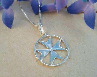 Maltese Cross Necklace, Silver Malta Cross, Maltese Cross Pendant, Artisan Jewelry. Handmade Maltese Cross, Silver Maltese Cross