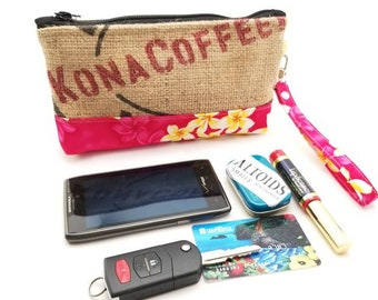 Burlap Recycled Coffee Bag Wristlet - iPhone 6+, Samsung 8+