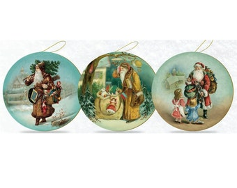"""German """"Antique Santa"""" Paper Mache Candy Containers Set of Three"""