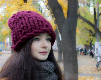 Beanie Hat. Super Chunky Hat, Merino Wool Hat, Winter Hat, Womens Winter Hat