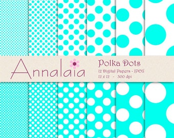 Blue Digital Paper Pack Turquoise Blue and White Papers Blue Polka Dots Scrapook Paper 12x12 8,5x11 Instant Download Commercial Use 003