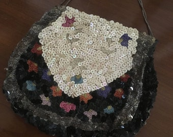 Rare Antique 1920s Embroidered Sequin Evening Purse / Flapper Bag M760