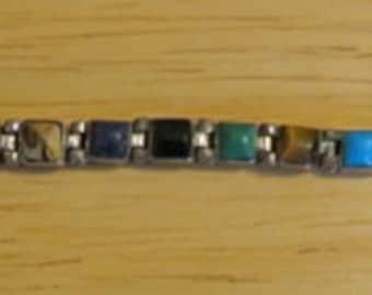 Vintage Wonderful  Mexican 950 Sterling Silver 20 Gemstone Bracelet -  TO-111 - **FREE SHIP**