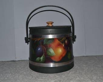 Vintage Wood Handpainted Firkin ~ Primitive Sugar Bucket ~Wood Bucket ~ Farmhouse
