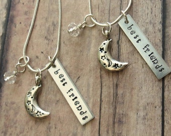 Best Friends Hand Stamped Moon Necklaces Set of 2
