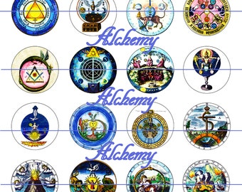 "Alchemy Magnets, Alchemy Pins, Alchemy Cabochons, Ancient Alchemy Magnets, 1"" Inch Flat backs, Hollow or Cabochons, 12 ct,"