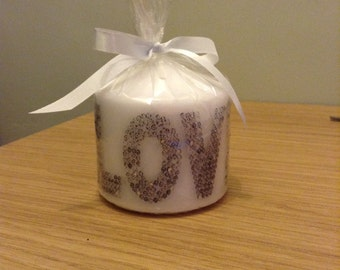 Hand printed LOVE candle with gemstones