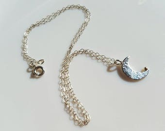 Dainty sterling moon and gold stardust pendant
