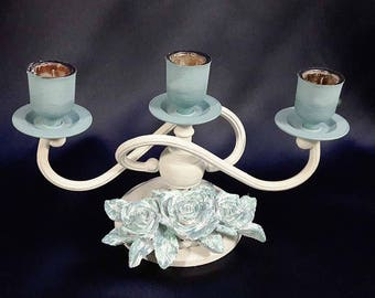 Country Chic 3 Candle Candelabra Light Blues