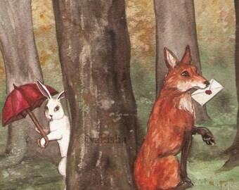 Fine Art Print - Woodland Art - Fox with a Letter