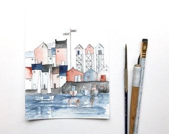aquarelle originale d'une ville portuaire