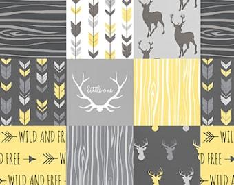 Gender Neutral Baby Quilt, Woodland Baby Quilt, Minky Baby Blanket, Yellow Gray Grey Little One Deer Antler, Boy Girl, Crib Bedding Modern