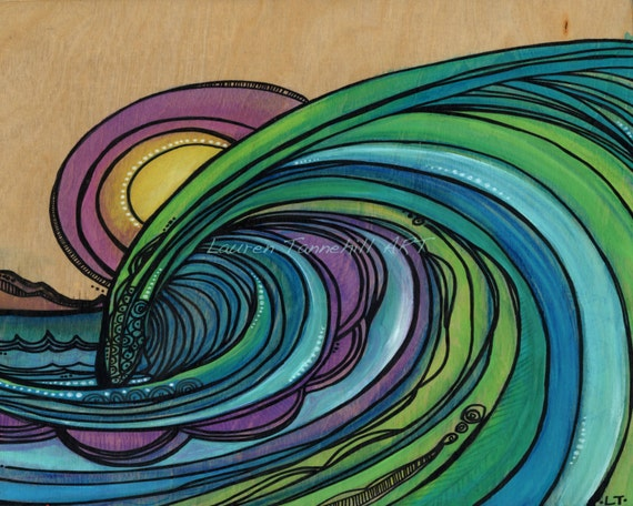 11x14 Large Print, Stained Glass Barreling Wave and Sunset on Paper by Lauren Tannehill ART