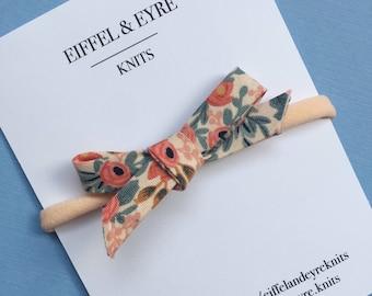 Baby Headband/ Nylon Headband with Bow/ Rifle Paper Co Fabric Bow/ Floral School Girl Bow/ Hand Tied Bow/ Newborn Toddler Headband/ One Size