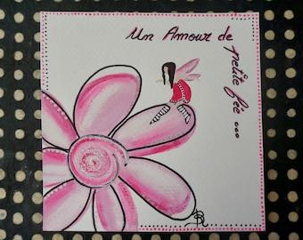 Fairy birthday card handmade colorful painting