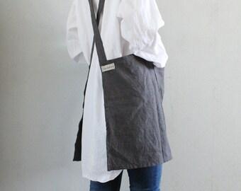 No-ties Linen Apron,Charcoal