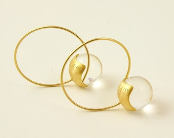22K Solid Gold,Handcrafted Earrings with Quartz No. 040-1