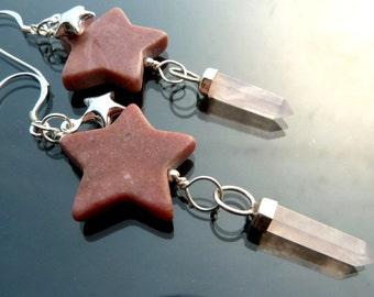 Shooting Star long earrings with pink rhodonite rose quartz crystals in sterling silver stars raw crystal OOAK jewelry